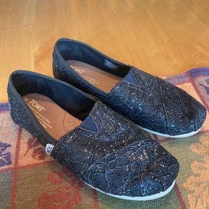 Dark grey glitter toms